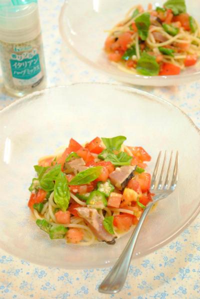 鰹のたたきと トマトの 冷製 イタリアンパスタ ☆