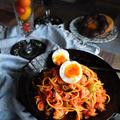簡単!常備食材で シャキシャキうまいパスタ カニ缶×オリーブ & エバラ焼肉のたれこだわり食感中辛×トマトソース