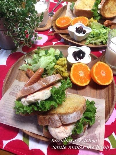 蒸し鶏deサンドイッチな朝ごはん♡…ひっどーーーいっっ‼︎