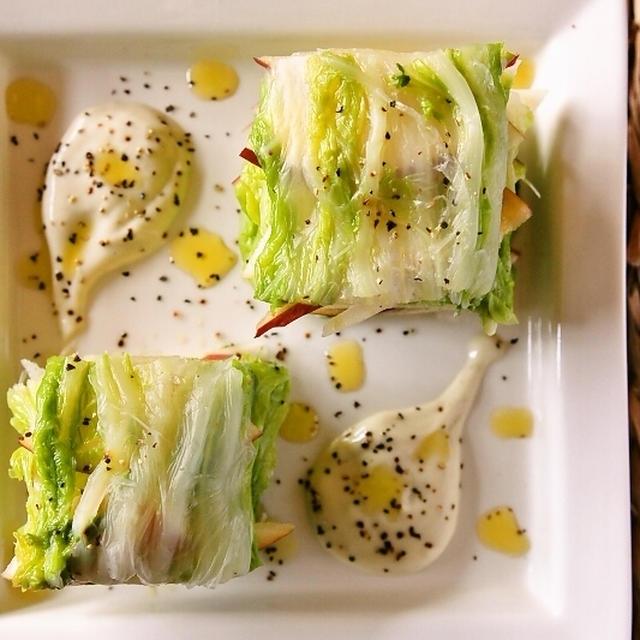 【スパイス大使】白菜とリンゴのミルフィーユ風サラダ~ホースラディッシュソース添え~