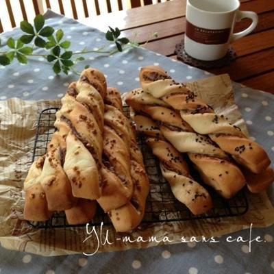 自宅発酵シリーズ*豆乳パン*あんことクッキーのハニーツイスト♡