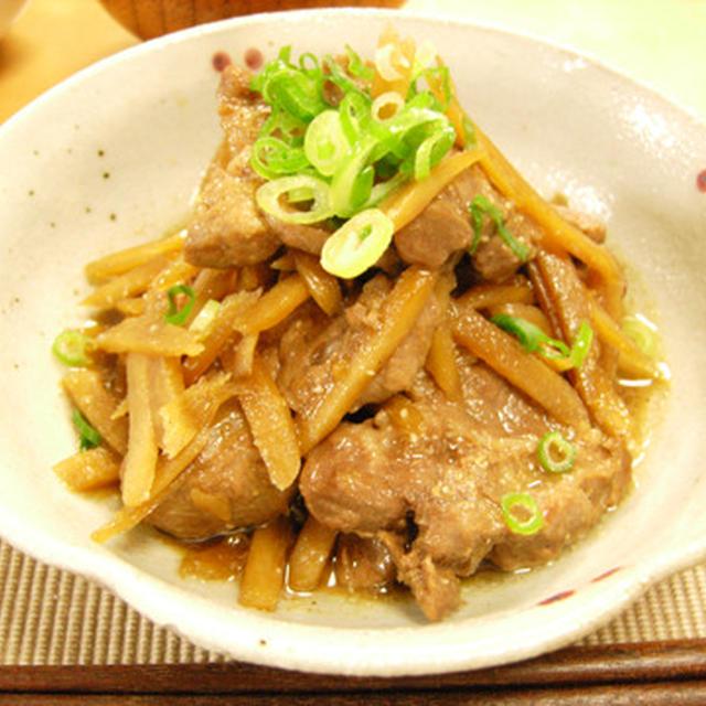 豚ロース肉とごぼうの醤油風味揚げ煮