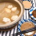 肌寒いので、鶏つみれ&キャベツ、大根の鍋、粒マスタードタレ他、3つのタレそえ