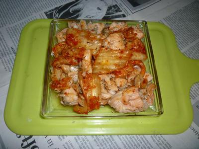 アトランティックサーモンのアラの焼き鮭+タイムで鮭キムチ
