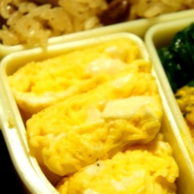 世紀末弁当救世主伝説、豆腐の味噌汁風卵焼きとレンジで簡単南瓜サラダ