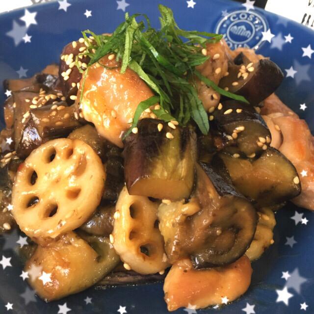 常備菜★鶏肉と茄子と蓮根の甘酢あん