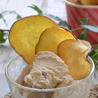 〇円のカップアイスクリームが立派なスイーツに♪甘~いおさつチップ♪アイスクリーム添え