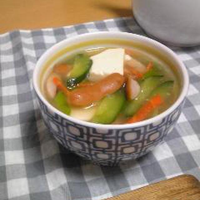 むくみ解消☆豆腐とキュウリの中華スープ