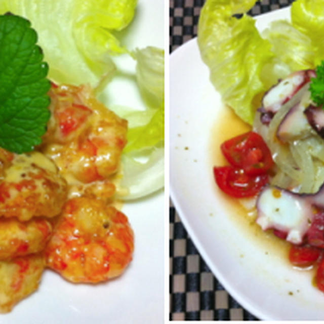 鶏胸肉とエリンギの明太クリーム、エビマヨ、タコのマリネ、豆腐とキムチスープ、たたきキュウリ、