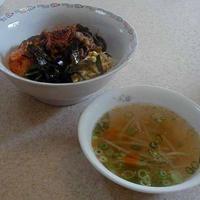 ビビンバ丼&もやしスープ