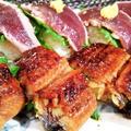 ■続・残り鰻の半身は【炙りトロ鰹とのコンビで シンプルに握り寿司で翌日食べました♪】
