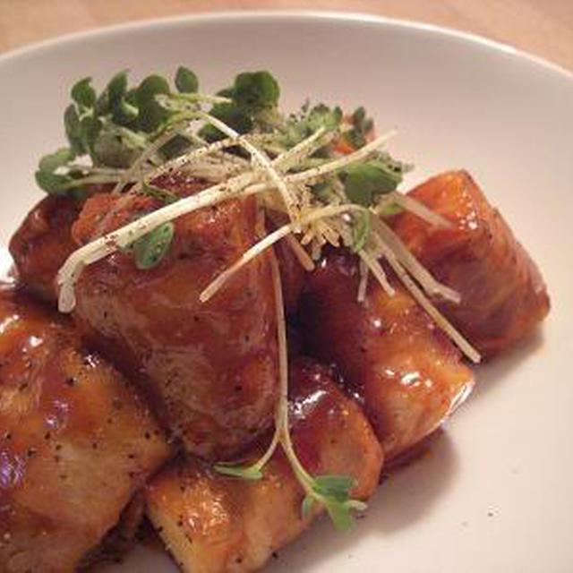 サイコロ豚のケチャップ照り焼き