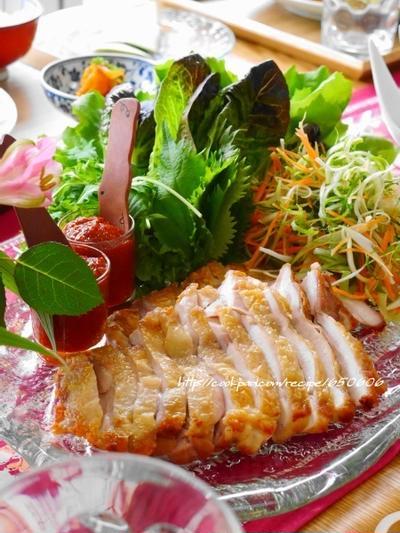 人気の大皿パーティーレシピ☆彡『鶏肉の韓国風手巻きサラダ』、先々週の送別ポトラックパーティー。