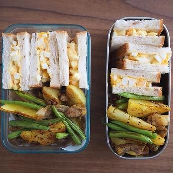卵サンドと豚じゃがカレー炒め弁当、極主夫道ハンバーグ定食