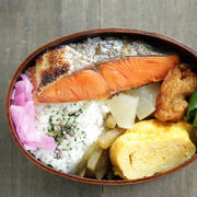 今日のお弁当~焼き鮭のっけとヤーコンきんぴらのわっぱ弁当