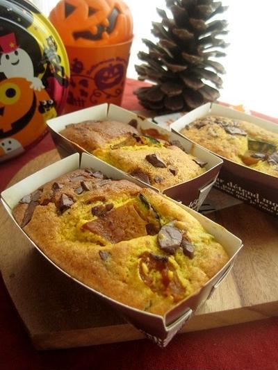 ハロウィンに☆南瓜と板チョコのミニパウンドケーキ