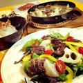 ・ucoparcheゆぅさんからの蝦夷肉とレンコンのアヒージョ と、   鎌倉野菜サラダ                             ・レンコンのごま油炒め               ・蛸ワサビの大根おろし