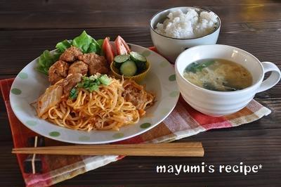 ワンプレートな節約献立。~キムチ焼きそば、高野豆腐のから揚げ、きゅうりの塩麹漬け、たまごスープ~