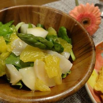 春野菜とホタテのサラダでベジlabo
