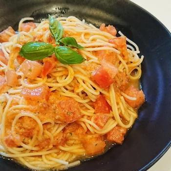 トマトとスイカの冷製パスタ