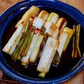メインになりそうな副菜「白ねぎのポン酢マリネ」&「きつねうどんはどん兵衛、焼うどんは赤いきつね」