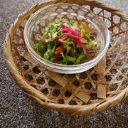 自家製紅ショウガでお弁当に!彩り野菜の和え物