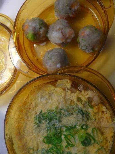 時短クッキングレシピ 海老と枝豆の蓮根もちもち蒸しと親子丼の具
