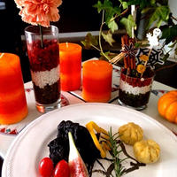 ハロウィンパーティーに♪簡単・美味しい『悪魔の真っ黒唐揚げ』とお花のアレンジで ❤︎ ハッピーハロウィン♪