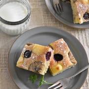 ブルーベリーとチーズの天板バナナケーキ