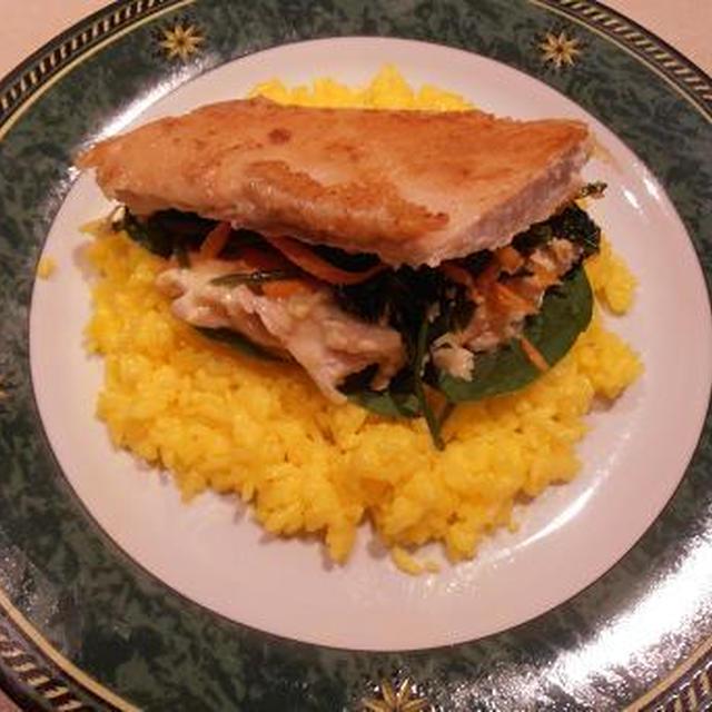ローストチキンの活用方法 鶏もも肉の野菜挟み焼き