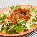 カリカリ干しエビの2色大根サラダ。旨みたっぷりのドレッシングで野菜がモリモリ食べられるおつまみ。