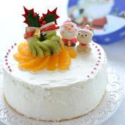 今から練習!15cmスポンジケーキ【オレンジとキウイのデコレーションケーキ】。