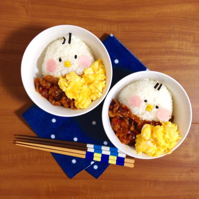 簡単朝ごはん!豚肉のチリソース炒めとスクランブルエッグで「ヒヨコ丼」