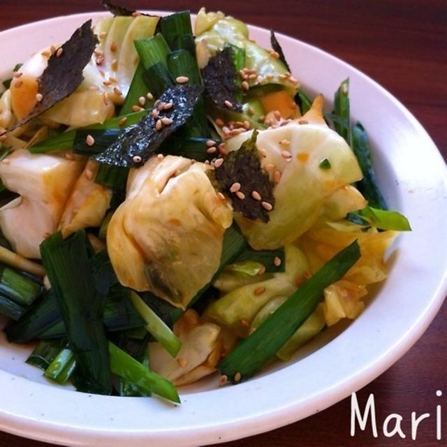 大盛り食べたい♡レンジで1分♪ニラ&キャベツのうま〜♡サラダ / 旦那さんの手作りクレープ