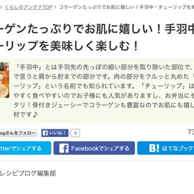 くらしのアンテナ掲載『照り焼きチューリップぅ!!!お弁当編』