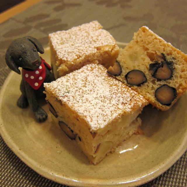 黒豆とリンゴのふわもちケーキ☆