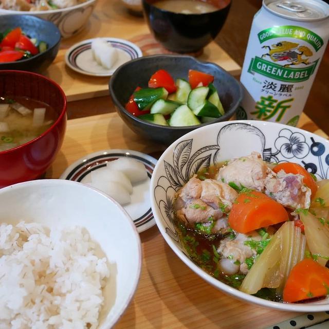 手羽元とセロリの煮物とグリーンラベル