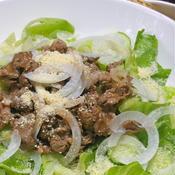 シャキシャキ野菜とガーリックビーフのサラダ