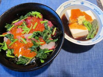 >最近の夕食より ♪海鮮丼、牛肉とパプリカのオイスターソース炒め等♪ by Mchappykunさん
