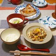 豆腐の炒り煮で晩ごはん。