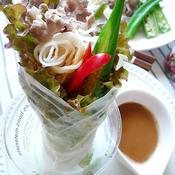 牛しゃぶとオクラのゴマ味噌ラップサラダ素麺♪