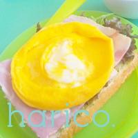 レンジで簡単!卵焼きをのせたハムチーズとーすと