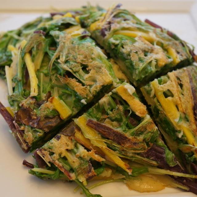 水菜とカラフルにんじんのチヂミ