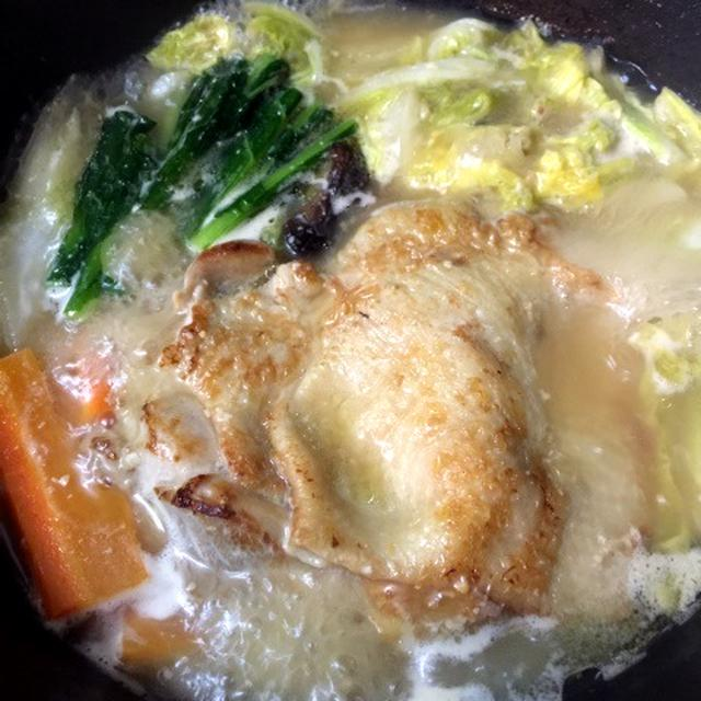 フライパン1つで簡単☆鶏肉のガーリックソテー味噌鍋@GABAN、あらびきガーリック