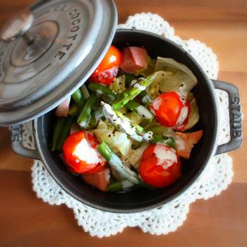 春野菜の蒸しサラダ~レモンヨーグルトソースかけ~