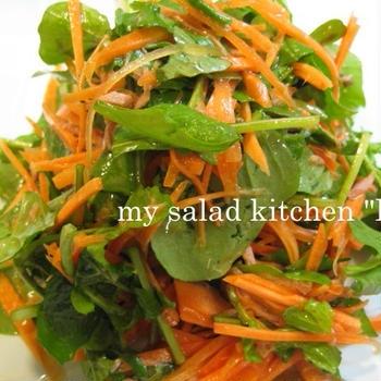 ツナとにんじん、ルッコラの簡単サラダ