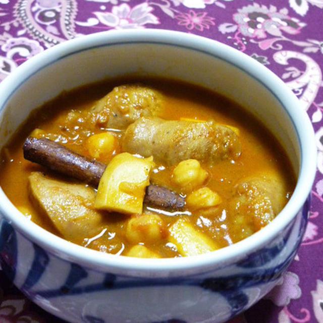 ソーセージとひよこ豆の煮込み風カレー