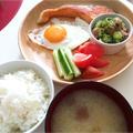 夏バテに!オクラと茗荷の梅おかか和えと焼き鮭定食 by まちこさん