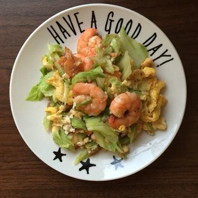 【レシピ】海老とキャベツの卵炒め