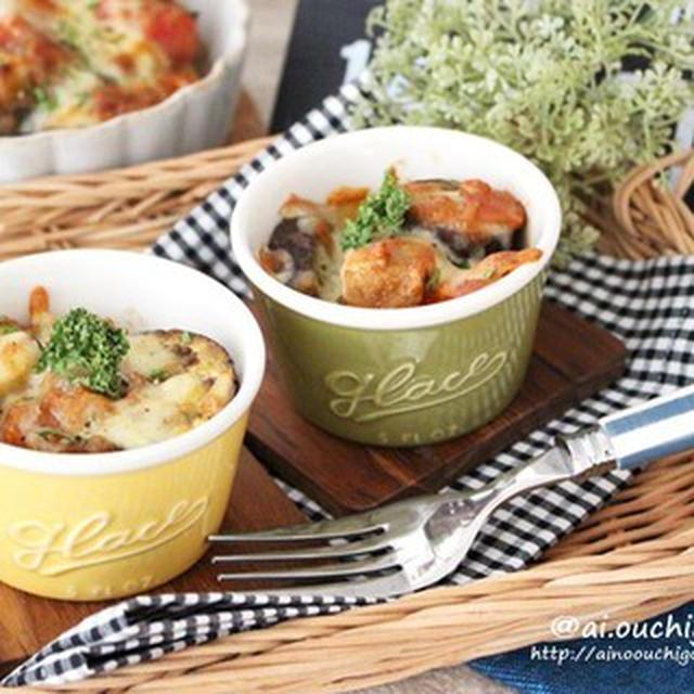 作り置きミートソースで簡単♡給料日前の厚揚げレシピ♡ナスと厚揚げのミートソースチーズ焼き♡